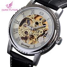 Elegante movimiento tourbillon de oro correa de cuero reloj de lujo del mens relojes automáticos regalo mecánico militar mejor servicio