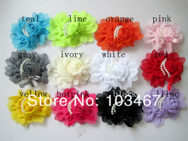 """chiffon rose Flower  5"""" x 4"""" new children hair flower with pearls 12pcs/lot"""