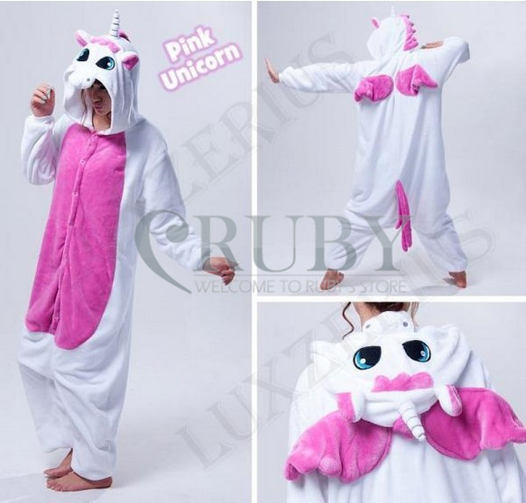 Fashion Christmas Halloween Costumes Pajamas One Pyjama Animal suit Cosplay Adult Flannel Pink Unicorn Cartoon Onesies - RUBY TOP 2 store
