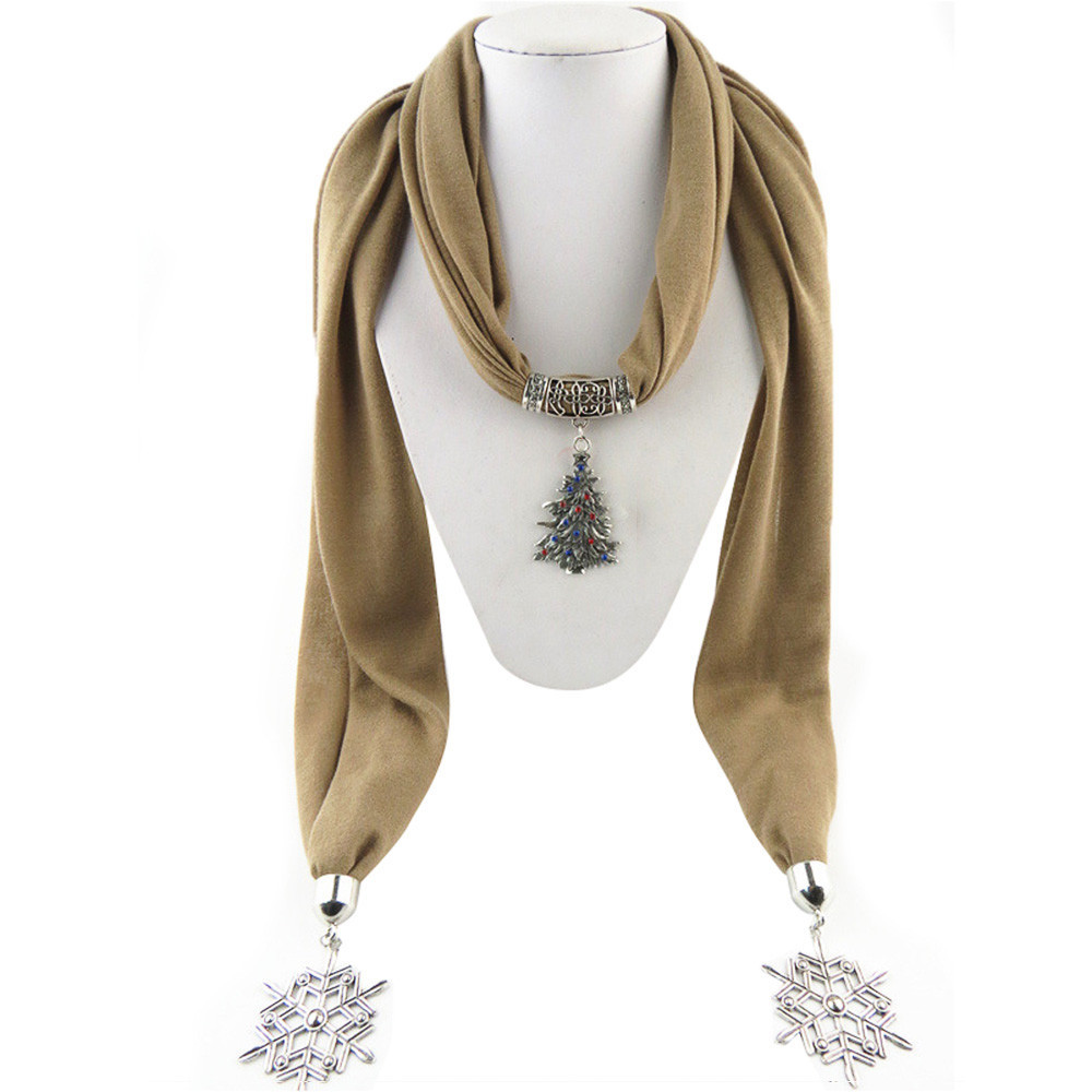 New Style Necklace Scarf With Christmas Tree Pendant Jewelry Tassel Scarf Shawl Wrap Women Autumn Winter Bufandas Mujer 180*40CM