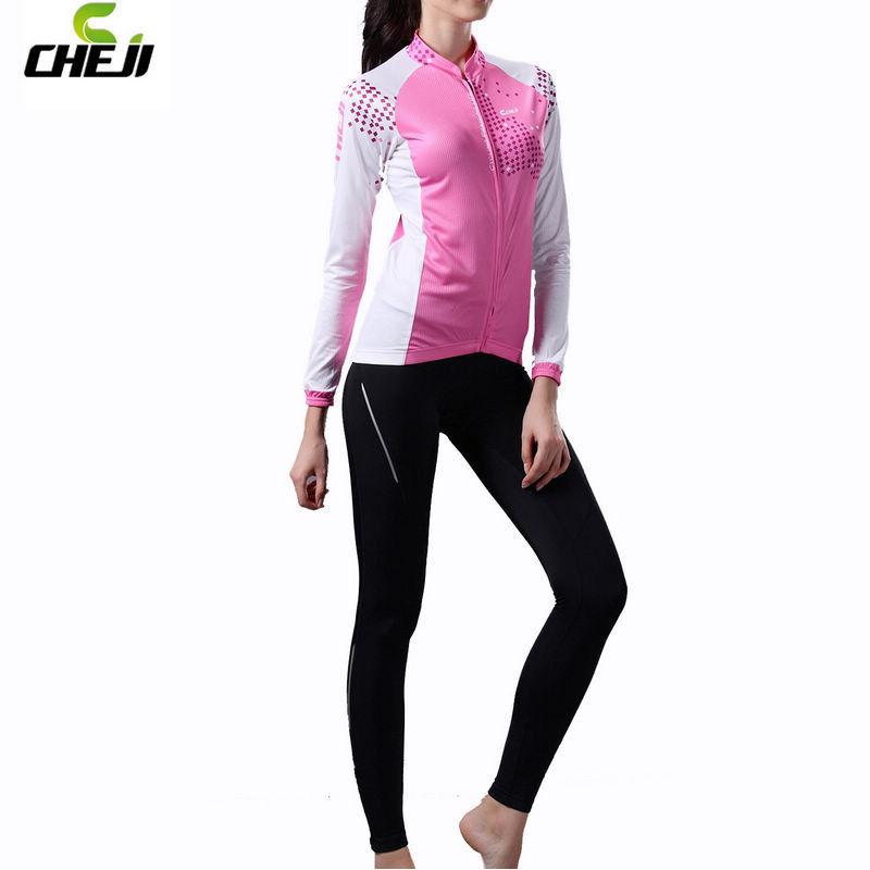 HOT! Women CHEJI Girls New Long Bicycle Wear Cycle Pants Cycling Jersey Sets Bike Clothing