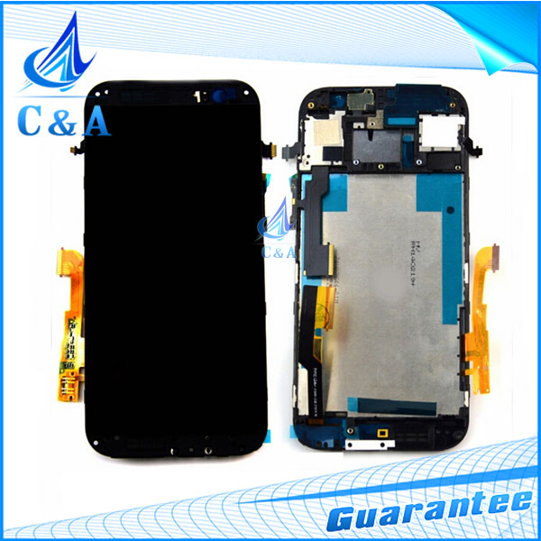 1 PC HK free shipping black tested new replacement repair parts for HTC one m8 lcd display+touch screen digitizer with frame