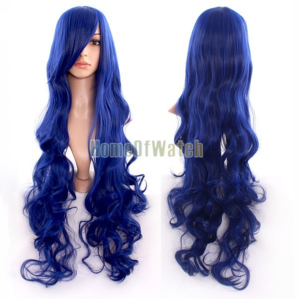Navy Blue Long Curly Wigs Cosplay Wigs (NWG0CP60817-NE2)(China (Mainland))