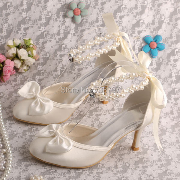 Ankle Pearl Bridal Shoes Ivory Satin 8CM Heel Bow Pumps Dropshipping
