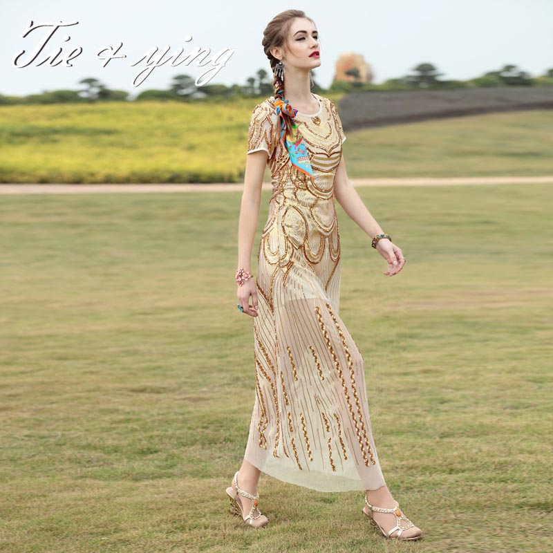 High-end women evening dresses 2016 summer new American and European fashion runway mesh sequins cute elegant slim long dressОдежда и ак�е��уары<br><br><br>Aliexpress