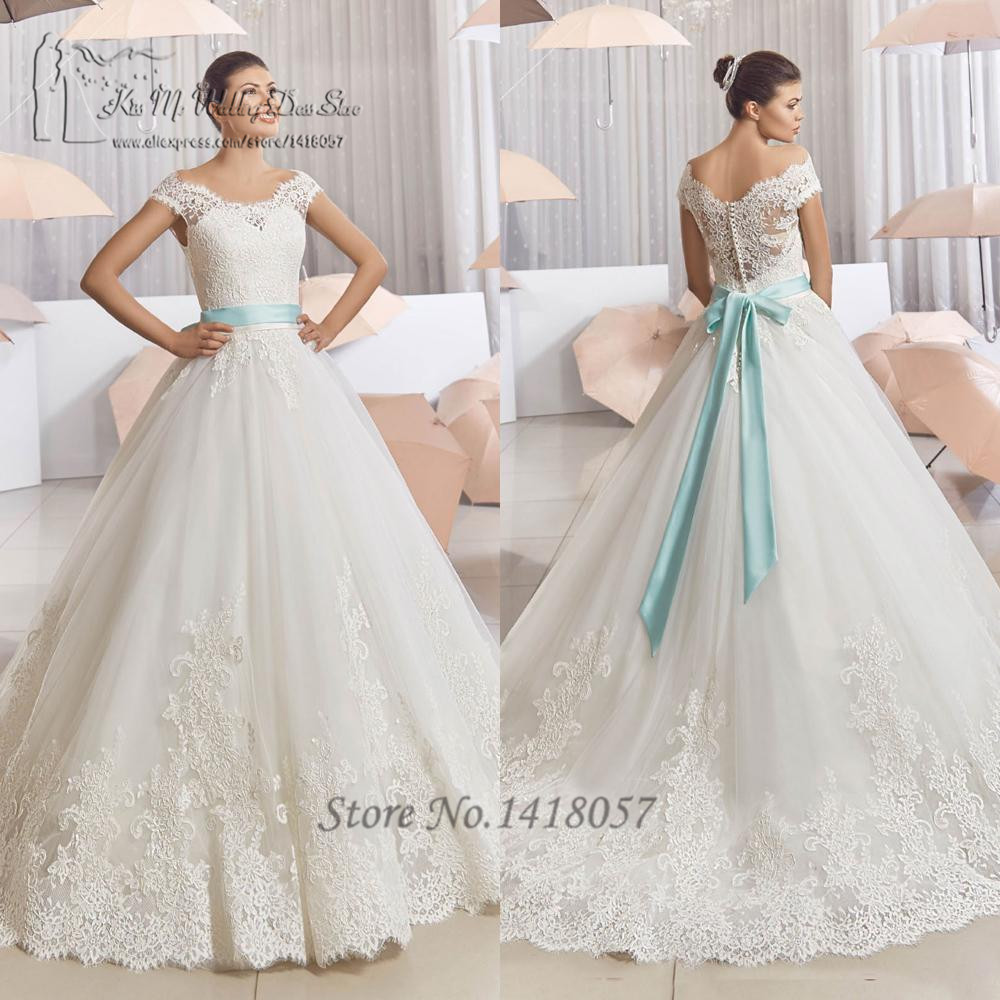 Vestido de noiva 2016 vintage wedding dress lace off for Blue sash for wedding dress