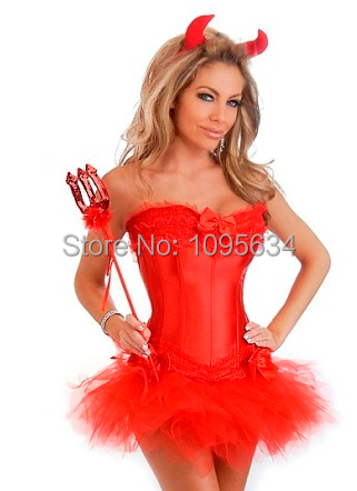 free shipping Red Devil Halloween Costume - Corset + Tutu + Horns & Pitchfork S-6XL in stock(China (Mainland))