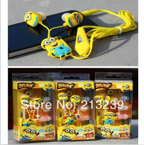 2016 New Cartoon Minions In-ear Earphone Headset Sound-proof For Player PSP CD 3.5mm Jack Freeshipping
