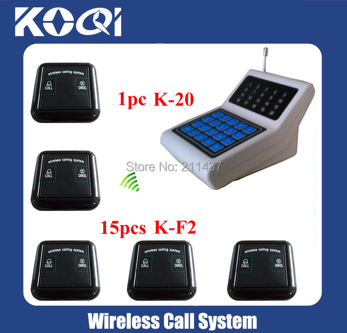 New design Calling systems K-20 display +15pcs K-F2 100% water-proof buttons Restaurant Wireless Table Bell System(China (Mainland))