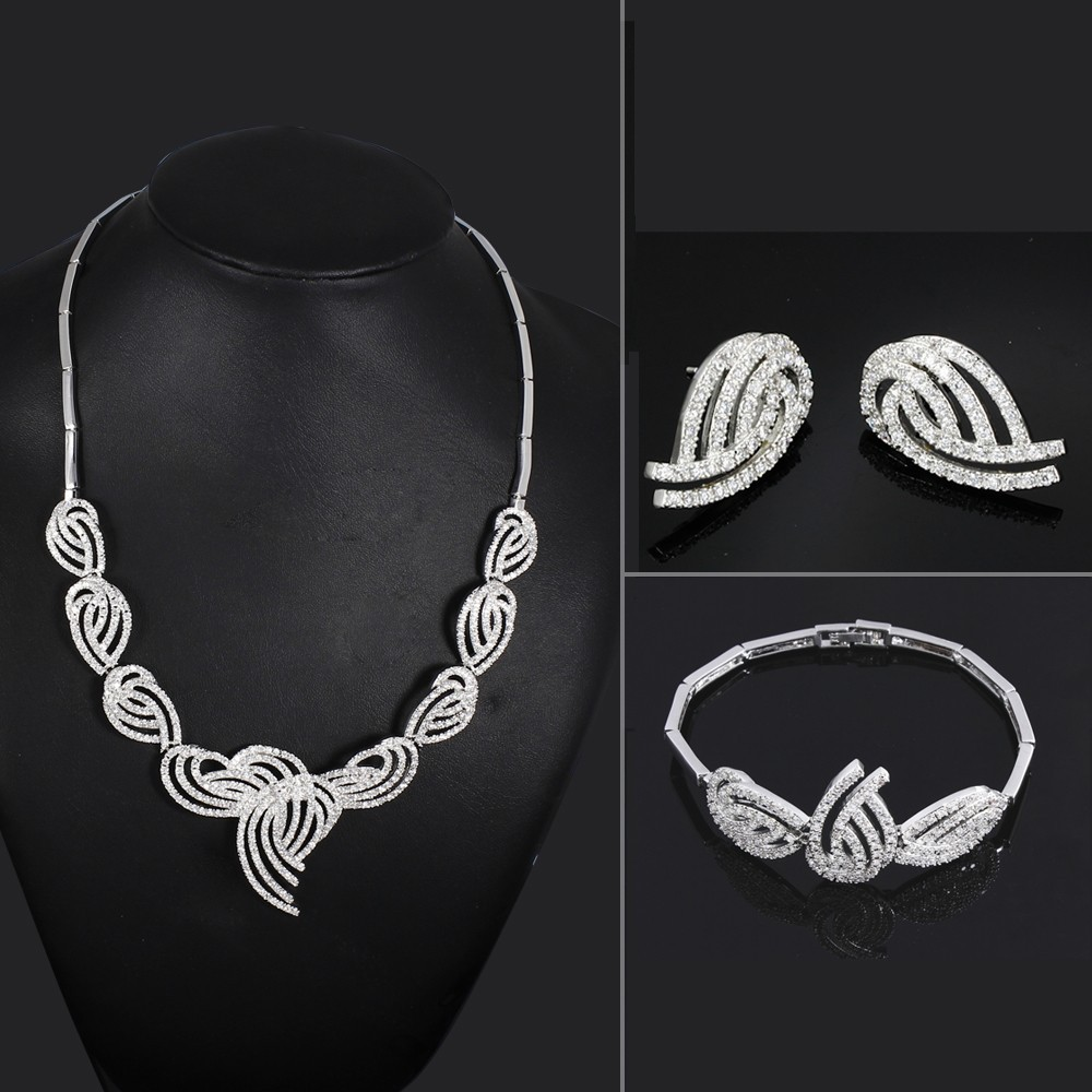 Brand New Fashion Bridal Wedding Jewelry Necklace Bracelet Earrings Set AAA Cubic Zircon Platinum Plated Bling Bling Accessories<br><br>Aliexpress