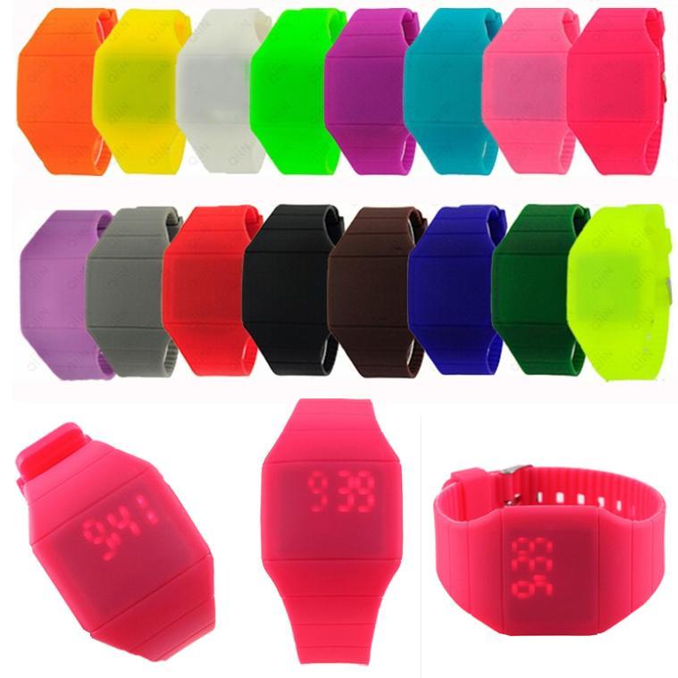 2015 Girls Boys LED Digital Watch Ultra-thin Design Jelly Women Wristwatch Unisex Silicone Strap Men Sport Watches relojes(China (Mainland))
