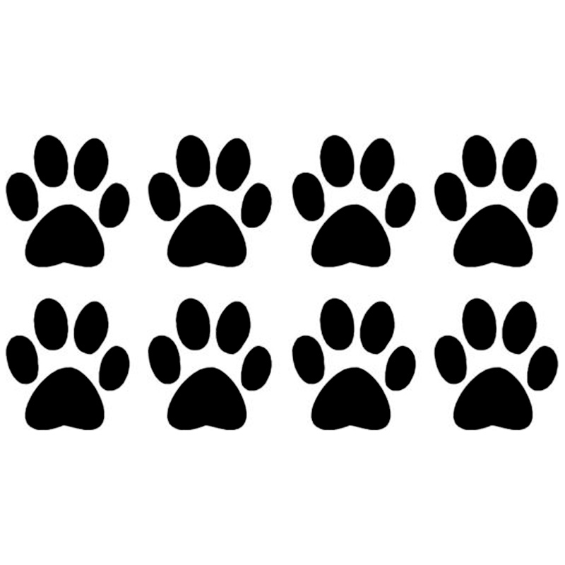 14.2*7.6CM 8PCS Dog Paw Prints Decals Motorcycle Car Body Cover Scratch Fashion Decorative Stickers Black/Sliver C6-0013(China (Mainland))