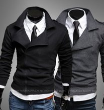 free shipping 2012 New fashion golilla inclined zipper design hooded Mens casaul silm fit Cardigan coat 2273