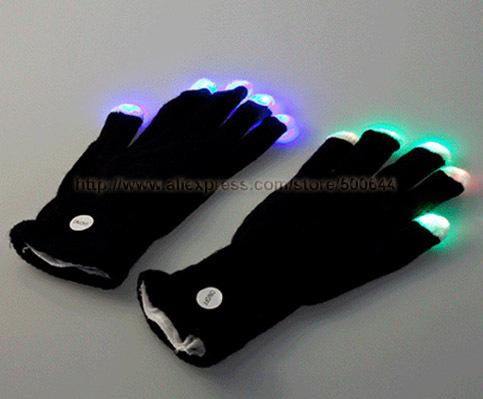 7 Modes LED Gloves Rave Light Finger Luminous Flashing Gloves LED Glove Mittens & 50 Pairs/Lot DHL/UPS/EMS Free Shipping(China (Mainland))