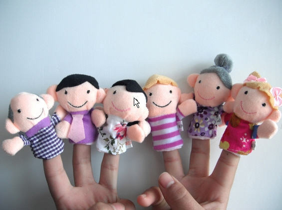 6PCS New 2015 Family Members Children Finger Puppets Baby Tell Stories Helper Stuffed Plush Doll Christmas Gift fantoche de mao(China (Mainland))