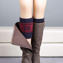 1 Pair of Fashion Snowflake Print Knitted Leg Warmers Winter Boot Socks Christmas Gift Women Warm Winter Socks Boot Cover Socks(China (Mainland))