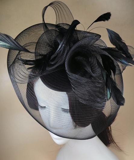 Black Flower Hat Hair Fascinator Feather Mini Top Gothic Accessory(China (Mainland))