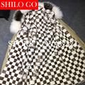 Plus Size 2016 Women Warm Winter Khaki Jacket Coats Thick Parkas black white Square Mink Raccoon