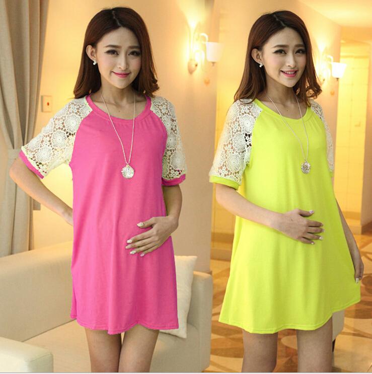 Free shipping short sleeve women summer dress 2015 Modal maternity fashion dresses wholesale pregnant clothes free shipping(China (Mainland))