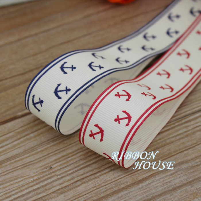 (2 meters/lot) 1'' (25mm) Red and Blue printed grosgrain ribbon Sea Anchor Series ribbons gift wrap ribbons(China (Mainland))