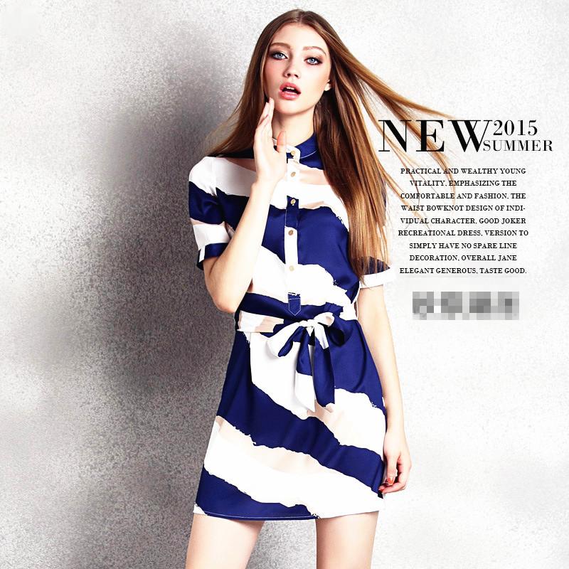 Fashion Wanita 2015 Pakaian 2015 Fashion Wanita Baru Pencetakan Stripe Musim