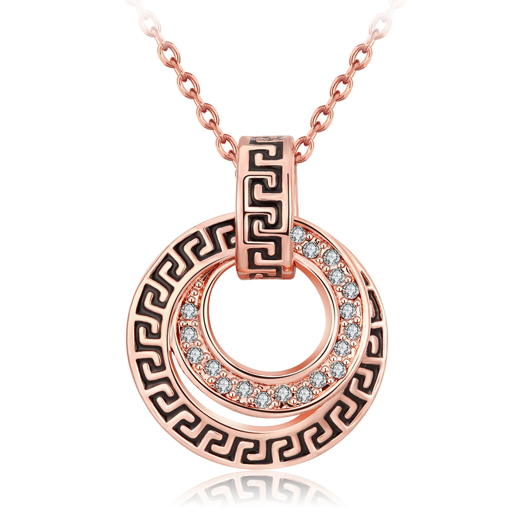Platinum rose gold plated fashion vintage coin rhinestone crystal pendant necklace for women girls chain necklaces pendants(China (Mainland))