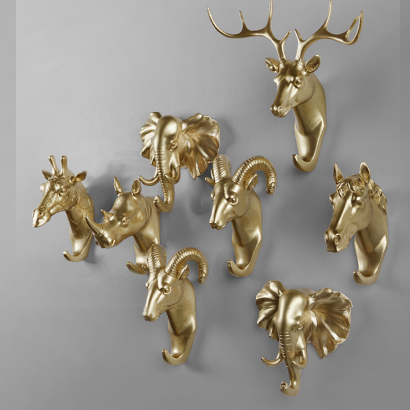 Rural style fashion Resin Gold Animal Head Clothes Hanging Coat Towels Hooks Hanger Decorative Wall Hooks(China (Mainland))