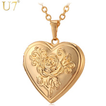 U7 Locket Rose Flower Jewelry Gift For Love Women 18K Real Gold Plated Vintage Photo Box Romantic Heart Pendant Necklace P326(China (Mainland))