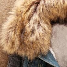 2015 New Women s Autumn Denim Jacket Women Winter Coat Slim Yarn Large Fur Collar Lamb