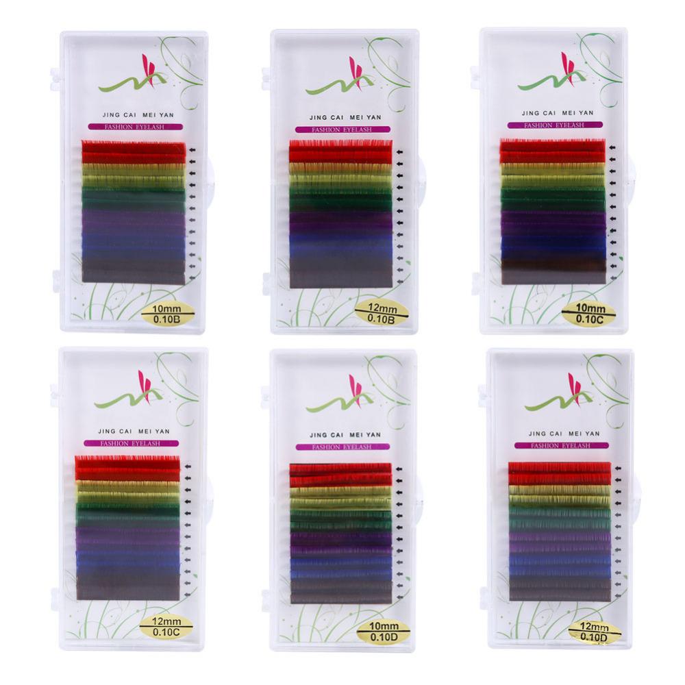 12Rows/Set 6Colors Natural False Eyelash Extension Mixed Rainbow 0.1mm Colorful Makeup Tools(China (Mainland))