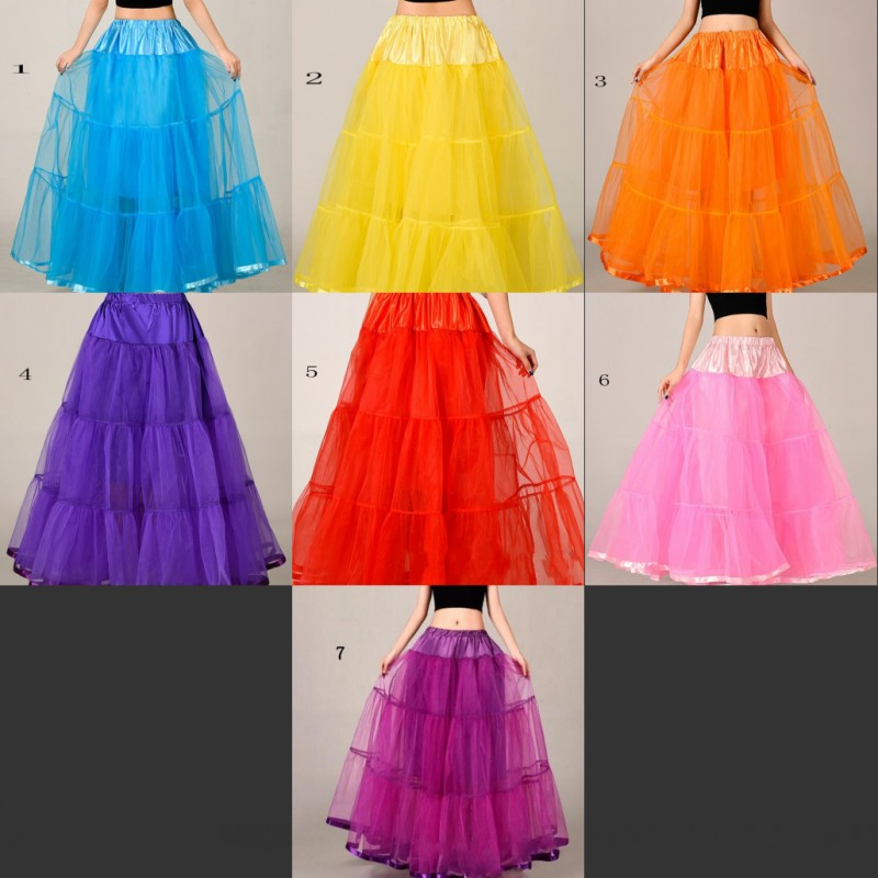 long halloween petticoat 7 colors bridal underskirt rockabilly crinoline a line petticoats for wedding evening dress - Halloween Petticoat
