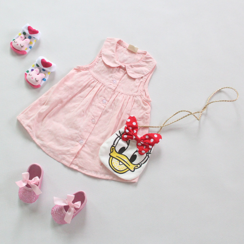 Summer Baby Girls Korean Fashion Dress Toddlers Pink Sleeveless Outfits Infant Solid Clothes Kids Cute Lovely Clothes(China (Mainland))