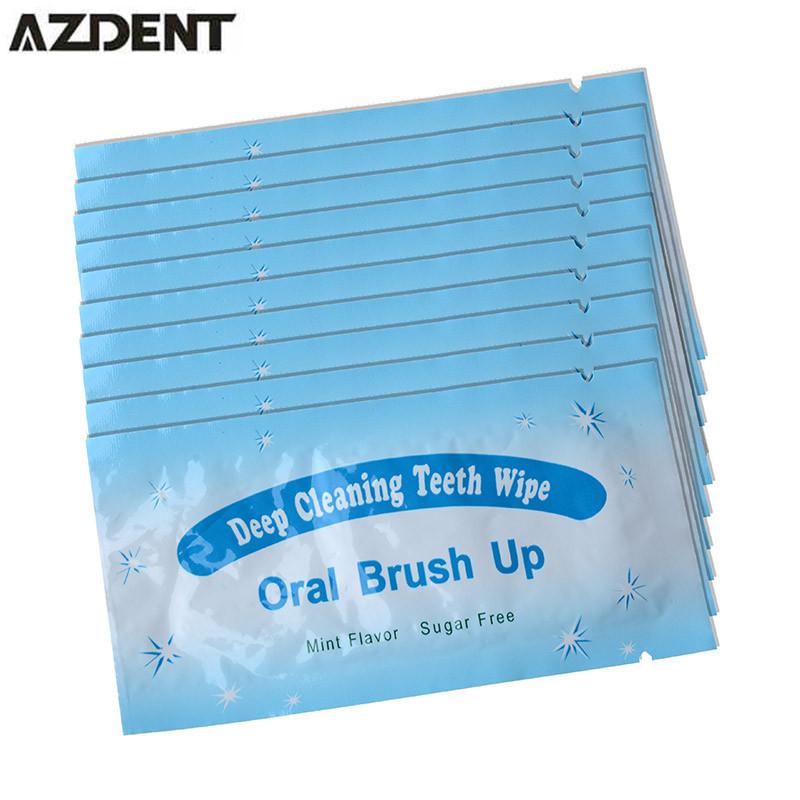 50pcs Finger Teeth Whitening Deep Cleaning Teeth Wipe Brush Up Wipes Dental Tooth Oral Hygiene