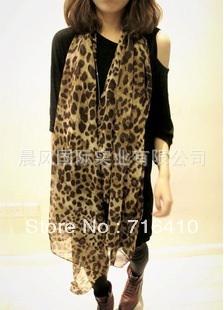 2013 Fashion Women Scarves Chiffon Brown Leopard Long Big Scarf Charm Shawls and Wraps