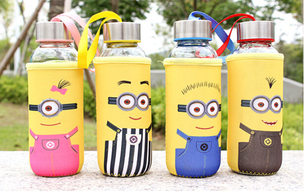 1PC 2016 Fashion water bottle Small yellow white cartoon glass cup portable cup wholesale gift cup J1368(China (Mainland))