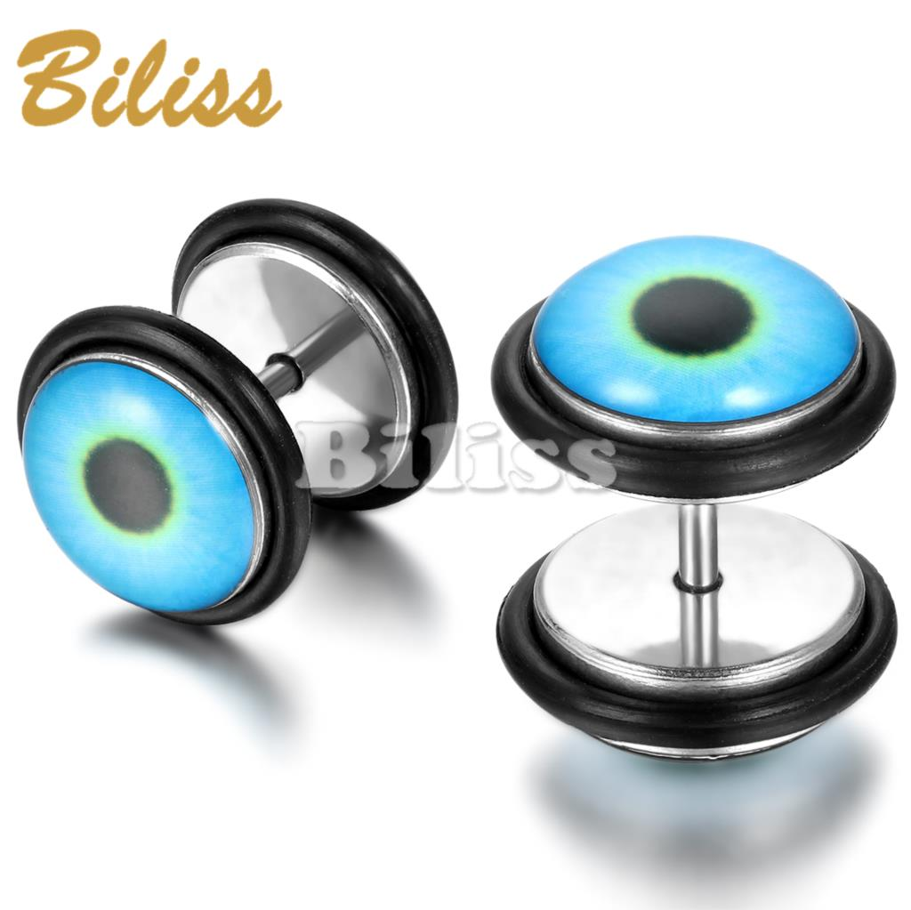 2015 Stainless Steel Men Stud Earrings Fake Ear Stretcher Plugs Cheater Earrings Blue Evil Eye Design Punk barbell earring 12mm(China (Mainland))