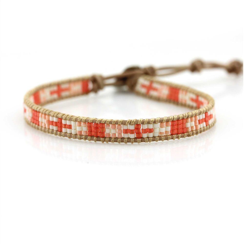 Fashion Cross Orange & Pink & White Seed Bead On Purple Leather Single Wrap Bracelet DIY Chan Lu Jewelry Wholesale Promotion(China (Mainland))