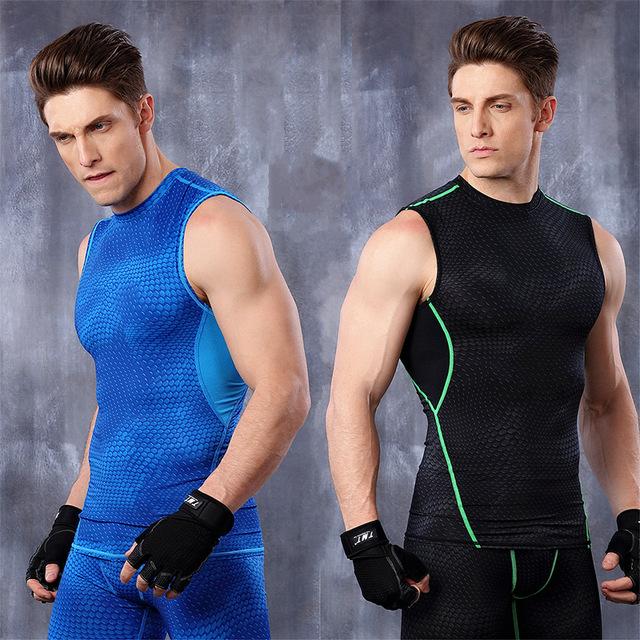 Мужчины лето работает упражнения тренировки pro сжатия без рукавов футболки basketabll ...