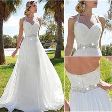 Elegant Beach Wedding Dresses Halter Chiffon Beaded Crystal Veatido De Novia Backless Court Train Bridal Gown ZX1454(China (Mainland))