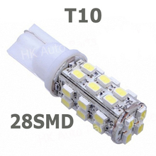 Wholesale 50pcs/lot 194 168 T10 28 SMD 3020 1206 Led Car Lighting T10 28SMD 3528 1210 LED Signal Indicator Lights Whtie 12V(China (Mainland))