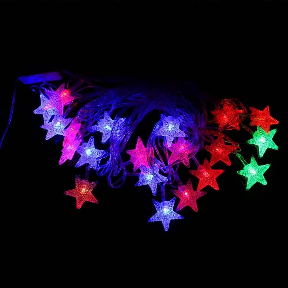 5m/20 leds 110V~ 220V Small Frosted Pentagram RGB LED String Light Decoration Light for Christmas Party Wedding(China (Mainland))
