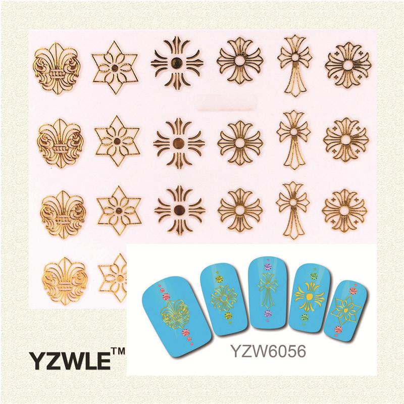 YZWLE 3D DIY Gold Design Nail Sticker 2016 Hot Sale Style Nail Sticker(China (Mainland))