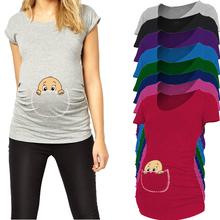 """Pocket baby pee a boo"" print maternity shirt gravida top pregnancy clothing cheap Tees Casual plus size XXL Free shipping(China (Mainland))"