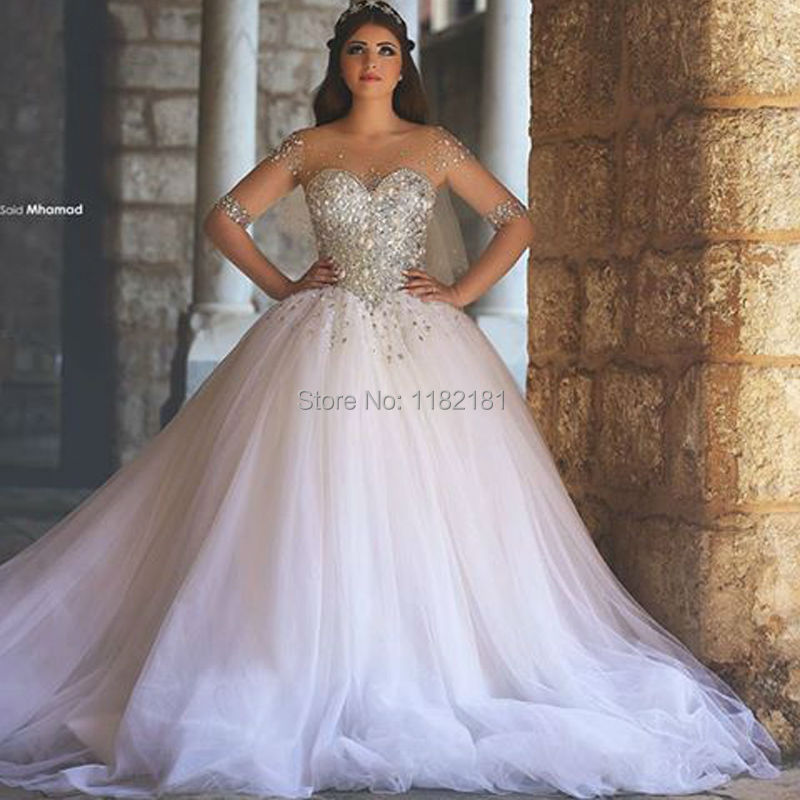 Wedding Dresses With Crystals : Sheer neckline luxuriant crystals beaded ball gown wedding