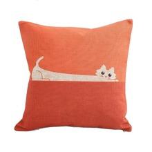 Rolling Cat Cotton Linen Square Pillow Case Cushion Cover