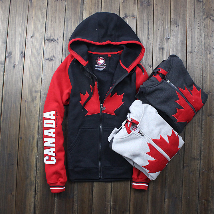 CANADA brand Men Hoodie Maple Pattern Weather Gear Fleece Zipper Jacket With a Hood Casual Sweatshirt(China (Mainland))
