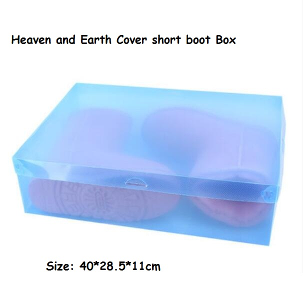 4pc/lot Women's Stackable Plastic Storage Heaven&Earth Cover Short Boot Boxes Ladies Foldable Clear Handhold Storage Shoe Box(China (Mainland))