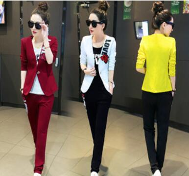 Europe new Korean autumn jacket Slim small suit long sleeved temperament three piece suit