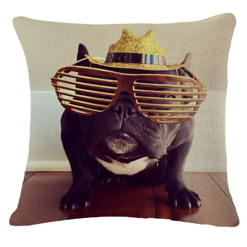 Cute Wear Hat French Bulldog Cushion Cover Dog 18 Inch Decorative Pillow Covers Animals Throw Pillows