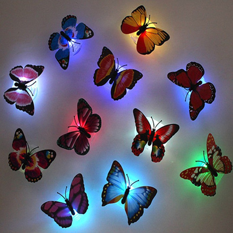 5pcs! novelty glowing butterfly night lamp led bottom sticker night light for children romantic Home Decorative Wall Nightlights(China (Mainland))